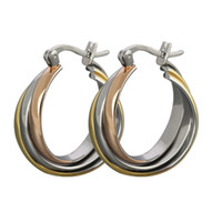 Wholesale Twisted Hoop Earrings - Orsa Jewelry Free Shipping Fashion Jewelry There Color Plated Twist Circle Titanium Steel Women's Hoop Earrings OTE15
