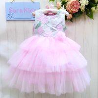 Wholesale Gauze Skirt Bowknot - Girls Lace flower bowknot Dress 2015 New princess Girls fashion sleeveless Lace gauze party dress three Layer cake skirts baby clothes C001