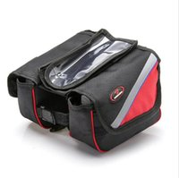 Wholesale 2015 Waterproof Cycling Bike Front Frame Bag Tube Pannier Double Pouch for