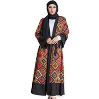 восток модная одежда оптовых-Горячие продажи мода мусульманское платье плюс размер 5XL мода красочные печати кардиган платье мусульманская Абая Ближний Восток одежда длинное платье