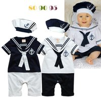 Wholesale Navy Sailor Outfits - Kids Navy sailors Striped baby romper sets (romper+hat) Boys Jumpsuits Outfits One Piece Clothing Baby Clothes