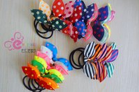 Wholesale Ponytail Combs - Elastic hair ties hair bands Bunny Rabbit Ears style Bows HairBands Stripes Dots girls ponytail holder pony girl rubber hair accessories