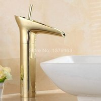 Wholesale Gold Basin Faucet - Luxury Modern Gold golden Bathroom vanity Sink Waterfall Faucet basin mixer tap single lever agf057