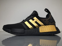 2017Versace X NMD Sapatos de corrida Originais NMDs BA7250 Tênis de exterior Black Gold Top Real Boost Sneakers Womens Boosts