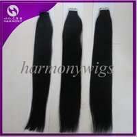 Wholesale Cheap Taped Hair Extensions - CHEAP virgin tap hair extensions,Stock 20inch 1# tape hair Extensions black color straight hair50g=20tapes Harmony hair