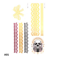 Wholesale Temporary Glitter Waterproof Tattoos - Metallic Temporary Tattoo Gold Foil Tattoo Flash tattoos 20pcs Gold Temporary Tattoo Glitter Tattoo Waterproof 7.9*5 Inch