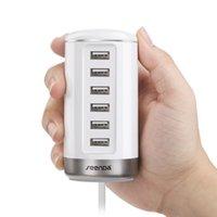mobil şarj cihazı renkleri toptan satış-6 Port USB Duvar Şarj USB Şarj İstasyonları C032 Yenilik Mobil Ipads için Siyah Akıllı Tanımlama ile Siyah Beyaz Renkler