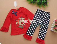 Wholesale Cotton Red Pajamas For Kids - red christmas costumes for kids suit baby tshirt pants kids Christmas Pajamas polka dots pants girls christmas deer children's sets clothing