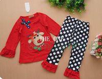 roter polka dot pyjama groihandel-rote Weihnachtskostüme für Kinder Anzug Baby Tshirt Hosen Kinder Weihnachten Pyjamas Polka Dots Hosen Mädchen Weihnachten Hirsch Kinder Sets Kleidung