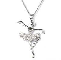 Wholesale Dancer Jewelry Necklace - Fashion Crystal Set Jewelry Fantasy angel ballet dancer girl pendant charm necklace jewelry for women free shopping