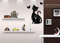 Wholesale Wall Clock For Children Room - Modern Design Living Room Children Cute Kitten Black Cat Wall Quartz Acrylic Clock 28x50cm Wall Clock