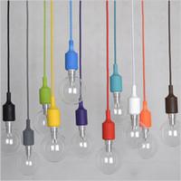 ingrosso lampada a sospensione cablata-Lampade a sospensione LED colorate 100CM filo E27 portalampada in silicone appeso lampada applique Portalampada senza lampadina?