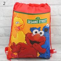 Wholesale Sesame Street Bags - Wholesale-Free shipping 24pcs lot Sesame Street Drawstring plush Bag school bags,Sesame Street plush Backpacks