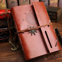 Wholesale leather book blank - 1Pcs set New Diary Notebook Vintage Pirate Note Book Replaceable Traveler Notepad Book Leather Cover Blank Notebook