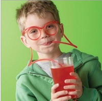 Wholesale Silly Drinking Glasses - 1000pc Funny Drinking Straw Eye Glasses Soft Silly Novelty Toy Party Favors Birthday Gift Child Adult Random Color Free Shipping