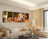 Wholesale Cheap Framed Oil Paintings - Free Shipping Canvas Painting Wealth and luxury golden flowers 3 Piece Art Cheap Picture Home Decor On Canvas Modern Wall Prints