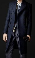 Wholesale Long Grey Trench Coat Mens - New Brand Winter mens long coat Men's wool Coat Turn down Collar Double Breasted men trench coat Outerwear