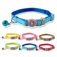 Wholesale Kitten Collars Bells - 1.0cm Wide Dots Prited Nylon Kitten Kitty Cat Collar with Bell Various Colors 17-28cm Ajustable