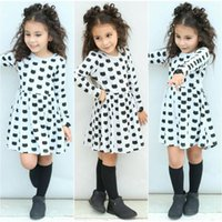 Wholesale tight stretch dresses - 2017 new ins Fashion Girl's Dresses Black cat Pattern printing stretch tight Long sleeve dress backing dress
