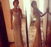 Wholesale Mermaid Glitter Prom Dresses - 2015 Glittering Gold Sequins Mermaid Prom Dresses Spaghetti Straps Floor Length Sexy Bodice Backless Champagne Evening Gowns Formal Dress