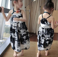 Wholesale Chinese Inks - chinese ink painting dress kid girl long beach dress children girls camisole printing ink painting bohemian sleeveles long dress girls