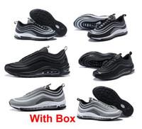 Wholesale Free Shipping Boxes - 97 ultra UL PRM Tripel White Metallic Gold Silver Bullet WHITE 3M Hot sale Premium Running Shoes With Box Men Women free shipping
