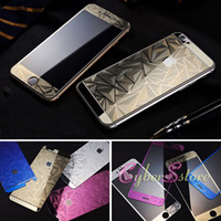 Wholesale Diamond Iphone Protector - For iphone 6 6s Plus 5 5S Full Body Mirror Tempered Premium Glass 3D Emboss Diamond Protector Screen Guard for i6 6Plus