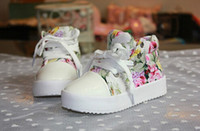 Wholesale Girls Flower Canvas Shoe - Retail- Fashion Children Athletic Shoes Side Part Flower Floral Individuality Baby Kids Canvas Shoes 2-7Year Boys Girls Sneaker