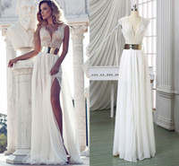 Wholesale Cheap Print Prom Dresses - Long Cheap Evening Dresses 2015 Luxury Sash Split Side Formal Events Evening Gowns Capped Sleeves Plus Size Regular Sexy Vintage Prom Dress