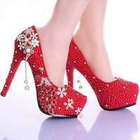Wholesale Gorgeous Diamond Shoes - Elegant Red Pearl Rhinestone Wedding Shoes Handmade Gorgeous Bridal Shoes 5 Inches High Heel Diamond Woman Pumps Prom Shoes