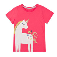 Wholesale Cartoon Kids Tees - 6 Pack Baby Girls Unicorn Rainbow Appliques T-shirt Kids Clothes 2018 Brand Cotton Children Cartoon Printed shirts Summer Girls Tops & Tees