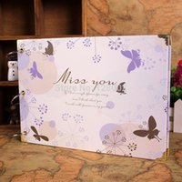 Wholesale Cover For Album - New Arrival 10 inch Miss You The Butterfly Cover Diy Handmade Photo Album Scrapbook Girlfriend Gift For Free Shipping