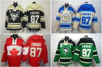 Wholesale Penguin Factory - Factory Outlet, Mens Pittsburgh Penguins hooded Jerseys #87 Sidney Crosby Old Time Hockey Hoodies Sweatshirts Size M--2XL