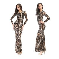 Wholesale Ladies Tops Long Hip Length - Top Sales Wild Leopard Dresses Lady New Tight Elastic Sexy Long Dress Nightclubs Show Women Clothing Pack Hip Dinner Party