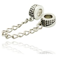 Foro da 5mm Argento Argento Colore Rododio Placcatura Fascino Spacer Perlato Di Catena Di Sicurezza Perline Pandora Bracciale