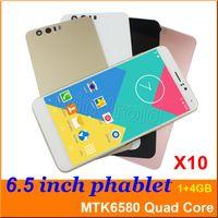 Wholesale Sim Card 3g Wcdma Phablet - 6.5 inch MTK6580 Quad Core Smart phone Android 5.1 4GB 1280*720 Dual SIM camera 5MP 3G WCDMA unlocked smart wake big screen phablet mobile