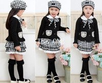 Wholesale Set Children 3pcs Suits Skirt - children three piece suit for girls 3pcs girls kids outfit bowknot Coat Plaid Skirt Hat dress set school clothes for girls free shipping