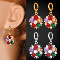 Luxo Mix-Color Cubic Zricon Drop Earrings Platinum / 18K Real Gold Plated Crystal Earrings para mulheres Fashion Jewelry MGC E1109