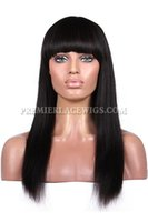 Wholesale Yaki Lace Front Brazilian 1b - Premierlacewigs soft Indian light yaki Straight With Bang #1 #2 #1b natural black brown Hair Lace Wigs For Black Women