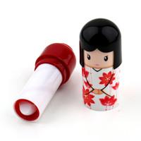 Wholesale Doll Lips Gloss - Cute Lovely Kimono doll Pattern colorful Girl Lip Lipstick present Lip Gloss Pen makeup maquiagem maquillaje maquillage