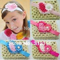 Wholesale Chiffon Headbands Free Ems - EMS Free Shipping!120pcs lot Chiffon Rosette Hearts Baby Headbands,Rosette Heart Headband,Hair Accessories