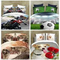 Wholesale Soccer Queen - muchun Brand Cotton Bedding Sets 4 pcs Bedding Comforter Set Duvet Covers 3D Cute Dog& Soccer Printing Bed sheet Wholesale Queen Home Textil