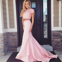 Wholesale exquisite mermaid beaded prom for sale - Group buy Exquisite prom dress Pink Two Pieces Mermaid Evening Dresses Short Sleeve Long Prom Sexy Party Gowns Beaded Formal vestido de festa