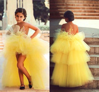 Wholesale Toddler High Low Pageant Gowns - 2017 Yellow Girls Pageant Dresses High Low Sweet Appliques Beaded Long Flower Girl Gowns Princess Communion Dress