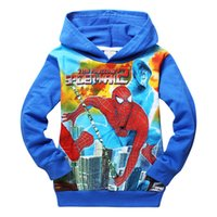 Wholesale Spiderman Pullover - Kids Boys Spiderman Sweatshirt Pullover Hoodies Coat Clothing 2-8Y Children Spiderman Outerwear 3 styles 6pcs lot