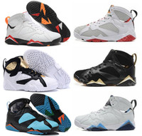 Wholesale Best Cigars - 2018 Best air retro 7 man basketball shoes Cigar Olympic sneaker ice blue True Flight outdoor shoes discount sports sneakers size 40-47