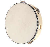 """Wholesale Birch Woods - New Toy Musical Instrument Tambourine 8"""" Hand Held Tambourine Drum Bell Birch Metal Jingles Musical Toy for KTV Party"""