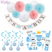 FENGRISE Baby Shower Decor Newborn Its Una Ragazza Ragazza Photo Props 1st Compleanno Blue Pink 1 Anno Party Photobooth Supplies