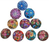 Wholesale Button Components - 50Pcs Mixed Polymer Clay Flower Pattern Jeans Snap Buttons Press DIY Charms Fashion Jewelry Making Component 19mm