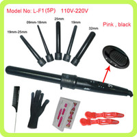 Wholesale Hair Straightener Curler Set - Hot 410F 5 Part Hair Curling Iron Machine 5P Ceramic Hair Curler Set 5 Sizes 09-32mm Curling Wand Rollers